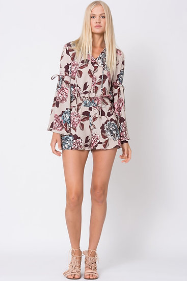 Womens Ross mini length bell sleeve Romper - in solid and print variants