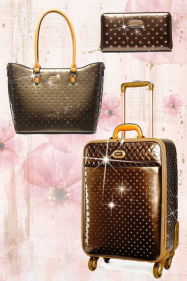 Starz Art Retro 3PC Set | Luxury Women Overnight Bag Set With Spinning Wheels