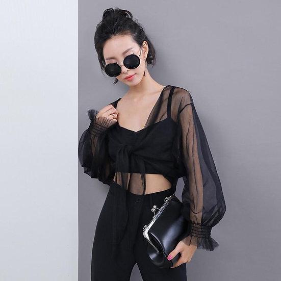 Women's Ariosto Jasmine Long V-Neck Crop Top - Sheer Black