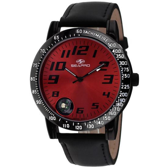 Men's SEAPRO Raceway with Red Face and Black Leather Band