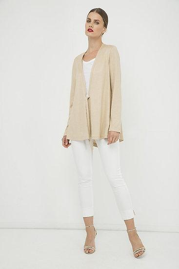 Women's Beige Open Front Linen Cardigan