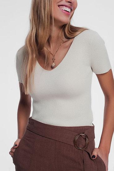 Womens V Neck Short Sleeve Jumper in Fine Knit Rib Cream