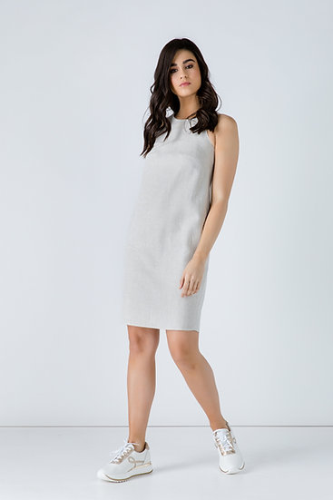 Women's Linen Sand Colour Sleeveless Sack Dress