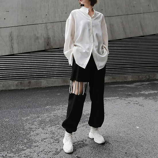 Women's Mikiko Pearls High Waisted Hollow Out Pants - Streetwear