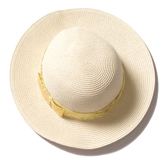 Womens Beach Glam Natural Straw Hat With Gold Ribbon
