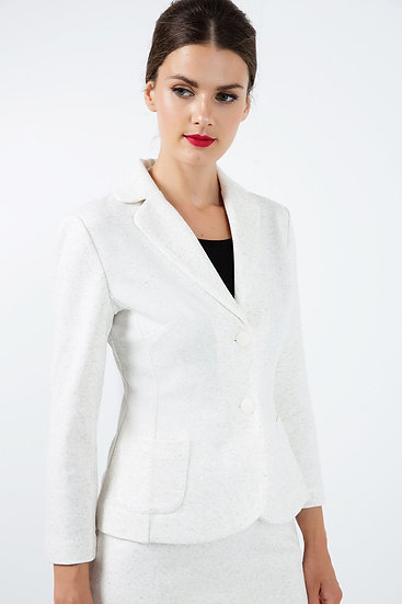 Women's Fitted Long Sleeve Jacket, Punto di Roma fabric with linen