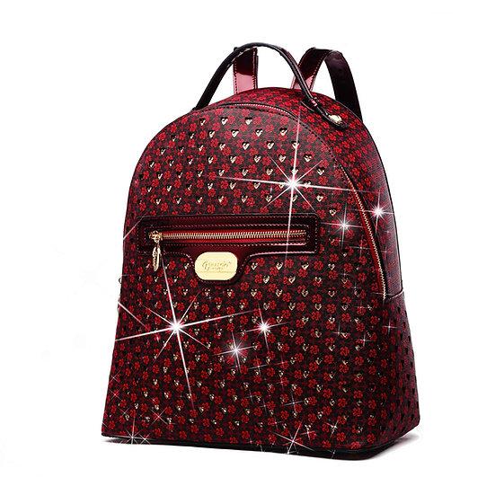 Galaxy Stars Women's Backpack Purse Anti Theft Bag - Burgundy