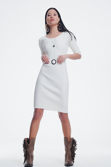 Women's Ladies White 3/4 Sleeve Dress With Feature Waistband and Buckle