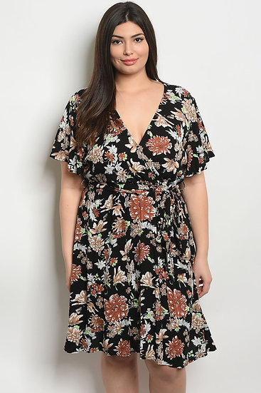 Womens Floral Plus Size short sleeve V-neck floral wrap style Dress