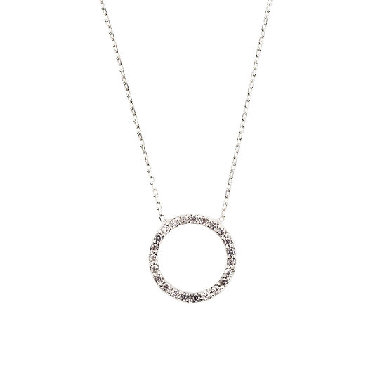 Halo Sparkling Circle Necklace in Silver, Gold or Rose Gold