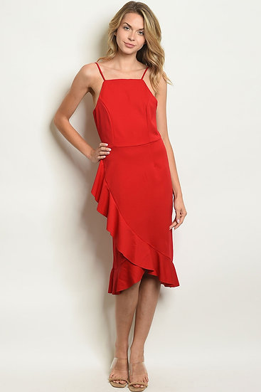Women's Ruffled Sleeveless Square Neckline Ruffled Midi-Dress