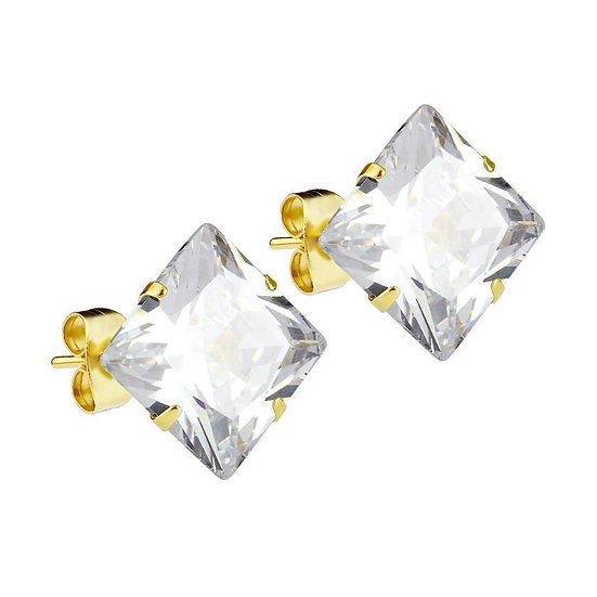 Mister Square Stud Earrings 6mm CZ crystal gemstone