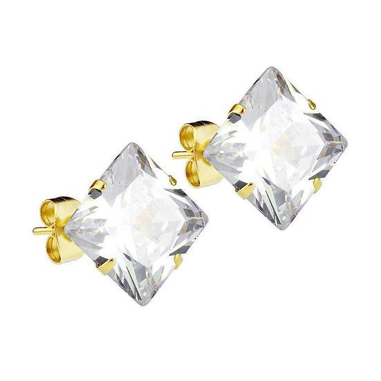 Mister Square Stud Earrings 6mmCZcrystal gemstone