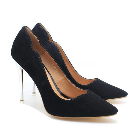 Chrome Heel Dress Pumps (Black) in Suede Leather