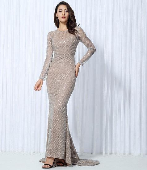 Women's Silver Lattice Beige Evening Gown