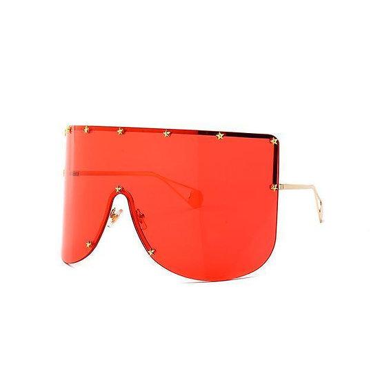 Eliza Oversized Women's Sunglasses - Gold Red Tint Lens
