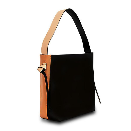 Women's Versa Leather Tote - Orange/Black With Wide Strap