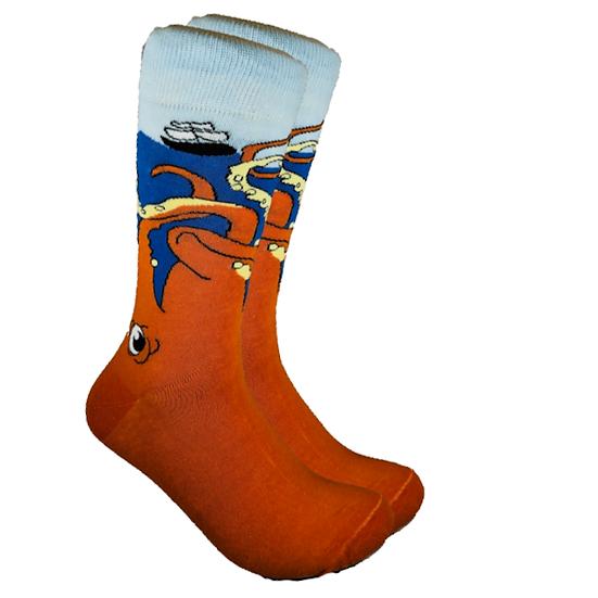Men's Octopus Print Socks in 80% Combed Cotton 15% Nylon 5% Spandex