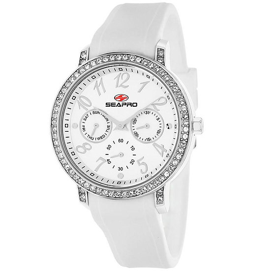 Women's SEAPRO Swell Watch in White and Zircons Silicone Band