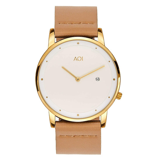 Womens OKAYAMA | 4.5 Watch in Gold With Premium Leather Band in Fawn