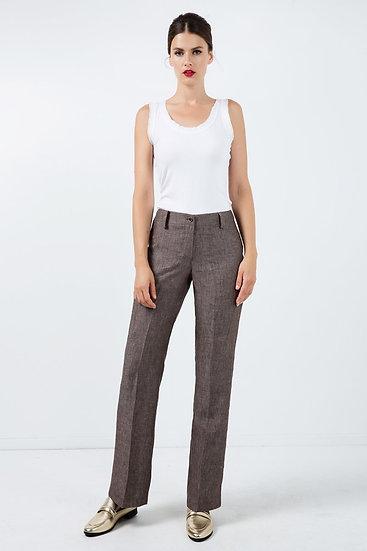 Women's Long Straight Woven Linen Pants