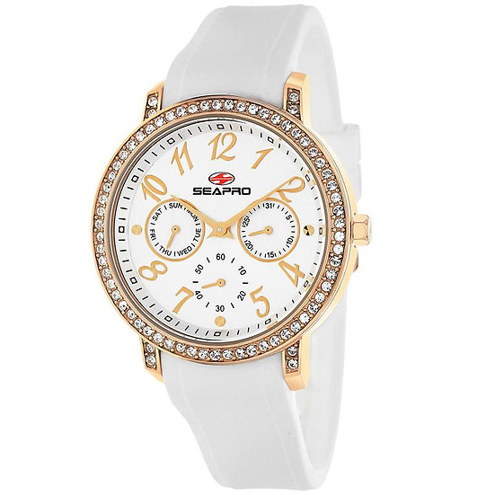 Women's SEAPRO Swell Watch in Gold and Zircons Silicone Band