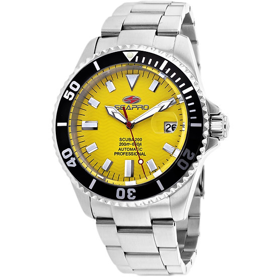 Men's SEAPRO Scuba 200 Auto Yellow Face and Stainless Steel Band