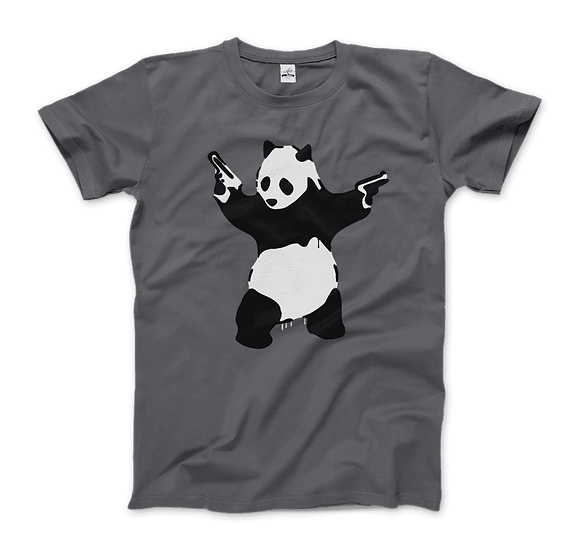Men's Banksy Pandamonium Armed Panda Artwork T-Shirt