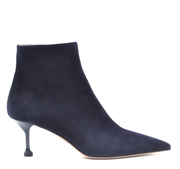 Women's PRADA Blue Suede Leather Heeled Ankle Boots