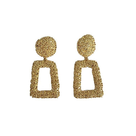 Women's Textured Trapezoid Earrings - Gold or Silver