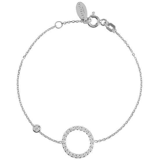 HALO Sparkling Circle Bracelet Silver with multifaceted white zircons