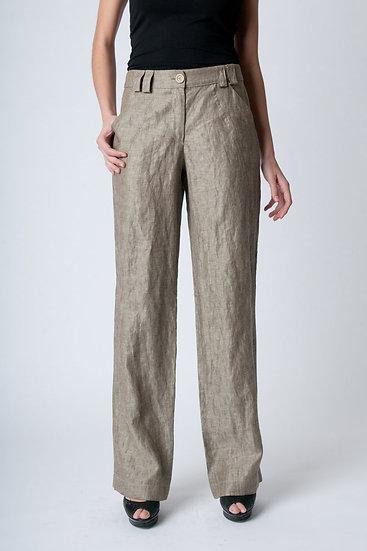 copy of Women's Straight Woven Linen Pants in Khaki