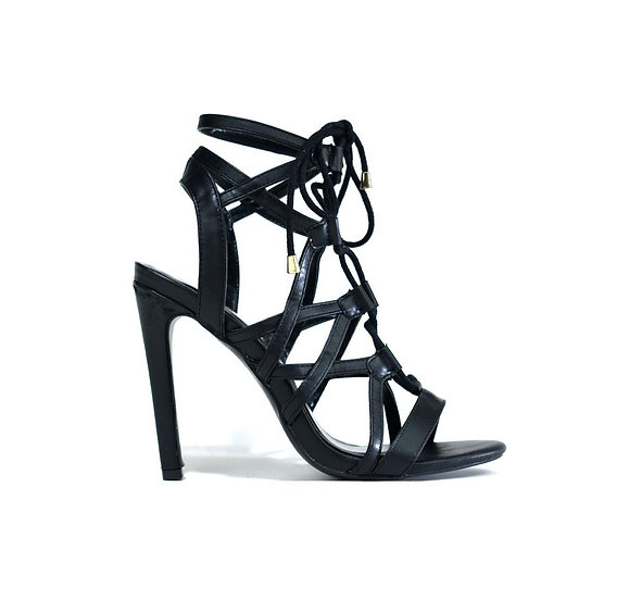 Womens Black Strap Stiletto LSA-5112 Black MF