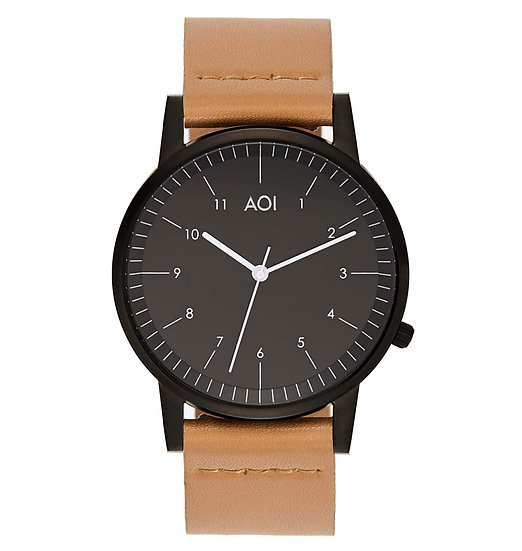 Womens KOBE | 1.6 Watch in Black With Premium Leather Band in Fawn