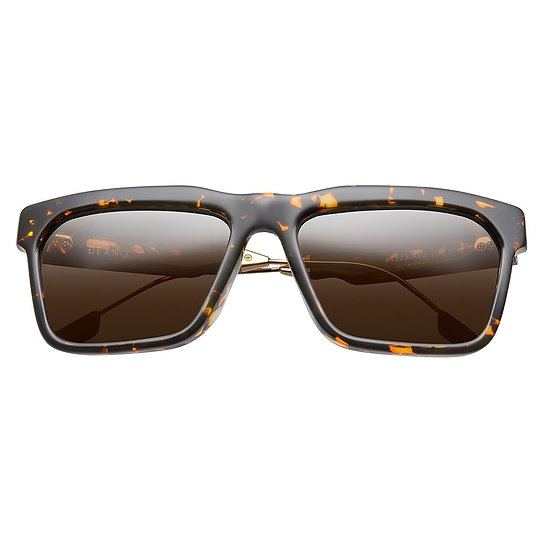 Deano Sunglasses Polished Ambercomb Tortoise - Brushed Gold / Bronze AR Lens