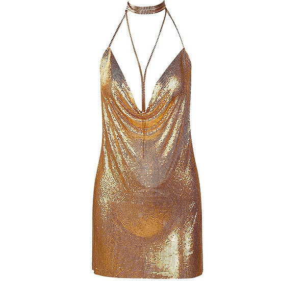 Women's Shimmering Gold or Silver Chainmaille Cocktail Party Dress