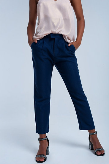 Womens Navy Shiny Pants With Darts