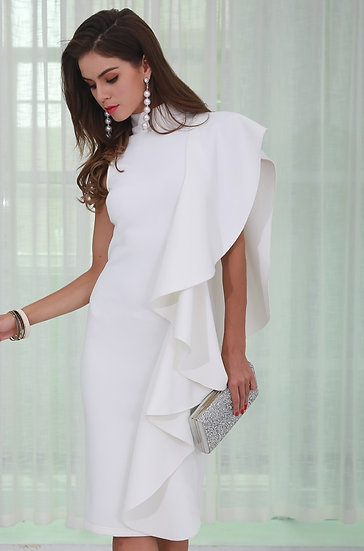 Womens White Midi Bodycon Dress - White Ruffles