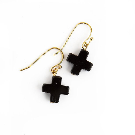 Womens Cross Earrings in Black Agate