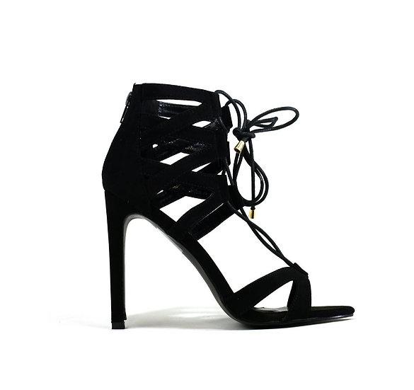 Womens Qupid Open Toe Black Heel Shoes