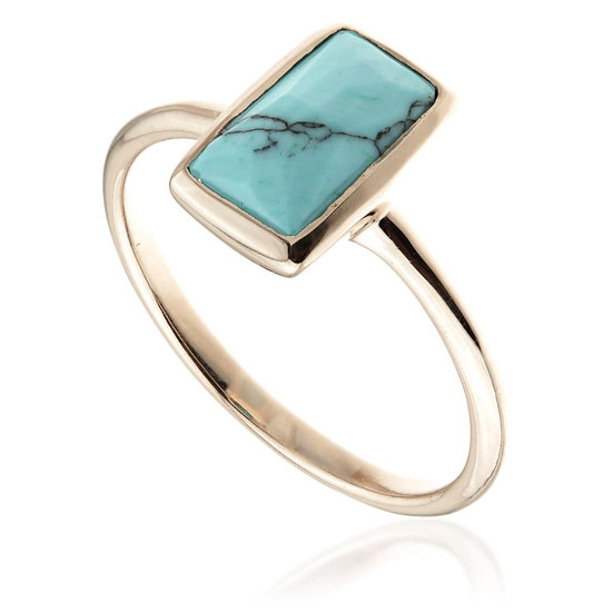Women's Jewellery Turquoise Rose Gold Rectangle Ring on 925 Silver