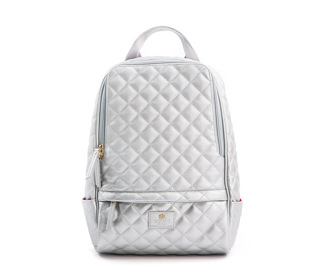 Women's COUGAR Cougar - Silver Vegan Quilted Backpack 18K Gold Plated Hardware