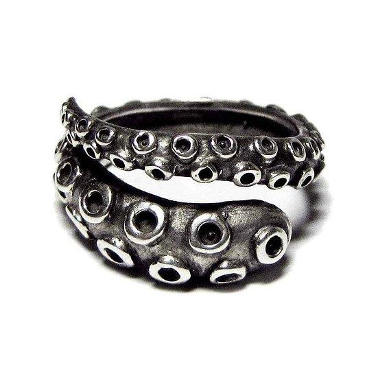 OKTOPOD Mens 925 Sterling Silver Octopus Tentacle Ring