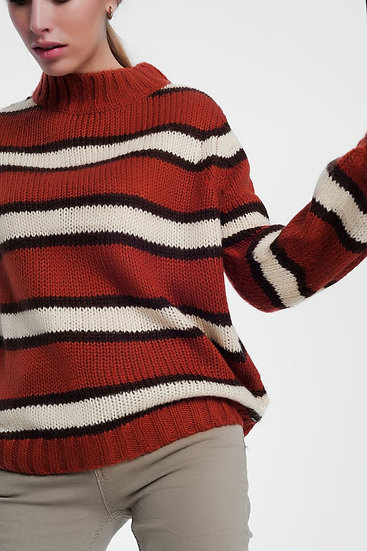 Thick Knitted Caldera Coloured Sweater
