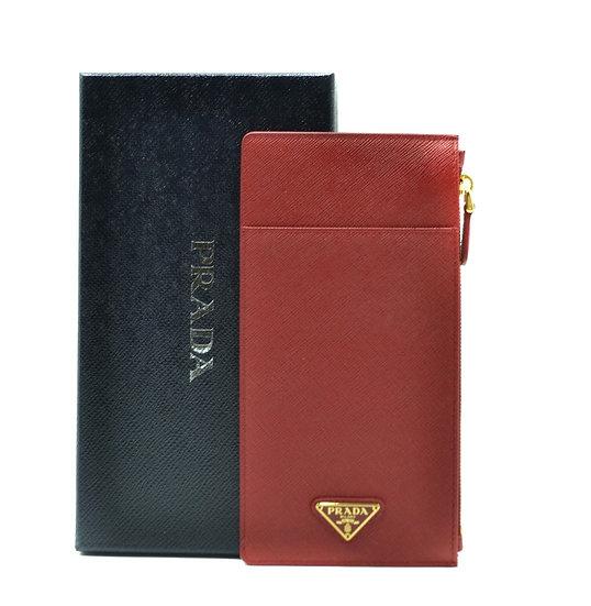 Women's PRADA Italian Designer Leather Wallet in Red