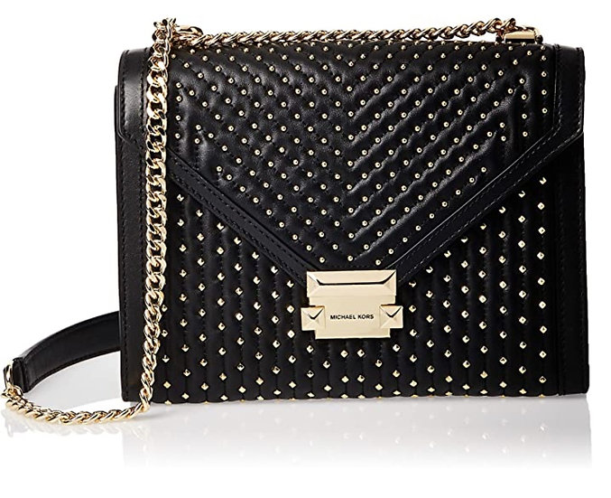 Michael Kors Whitney Large Studded Leather Convertible Shoulder Black