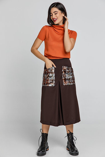 Women's Brown A-Line Midi Skirt with Multi-Coloured Sequin Pockets