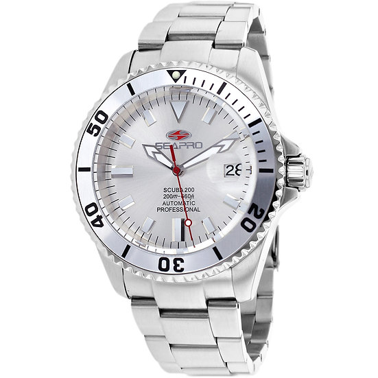 Men's SEAPRO Scuba 200 Auto Silver Face With Stainless Steel Band