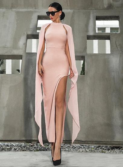 Womens Pink High Slit Bodycon Dress