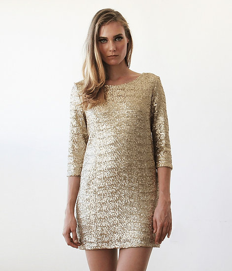 Women's Swanky Gold Sequins Dress With Open Back